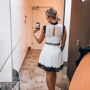 Adelyn Rae Dresses - NWT Adelyn Rae Black and White Lace Mini Dress